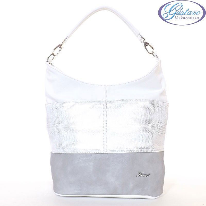 a9d0a8e84596 KAREN rostbőr női divattáska szürke-ezüst-fehér színű