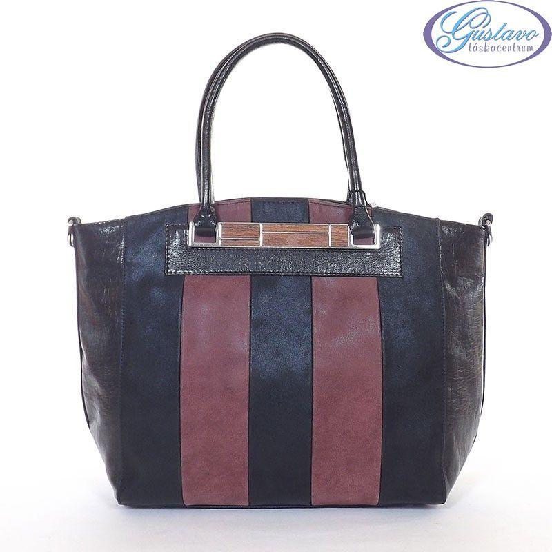 KAREN rostbőr női táska fekete-bordó színű c0ab8595ba