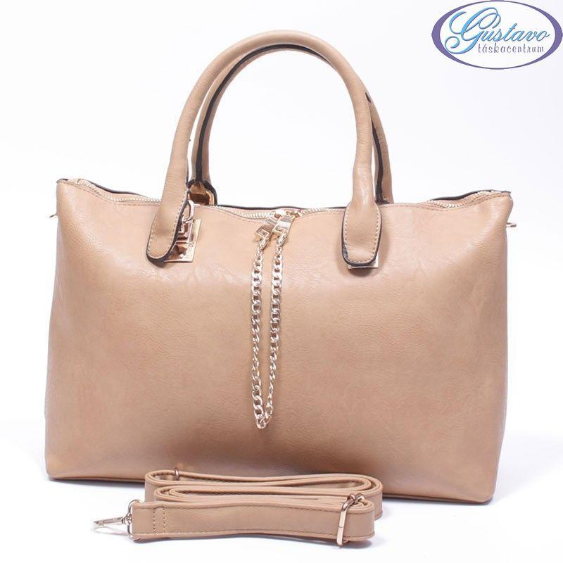Műbőr női táska világos barna 0580f421b0