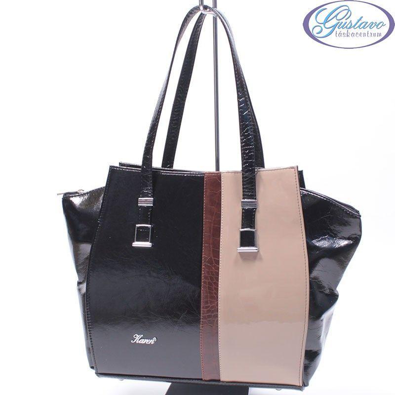 KAREN rostbőr női táska fekete- bézs