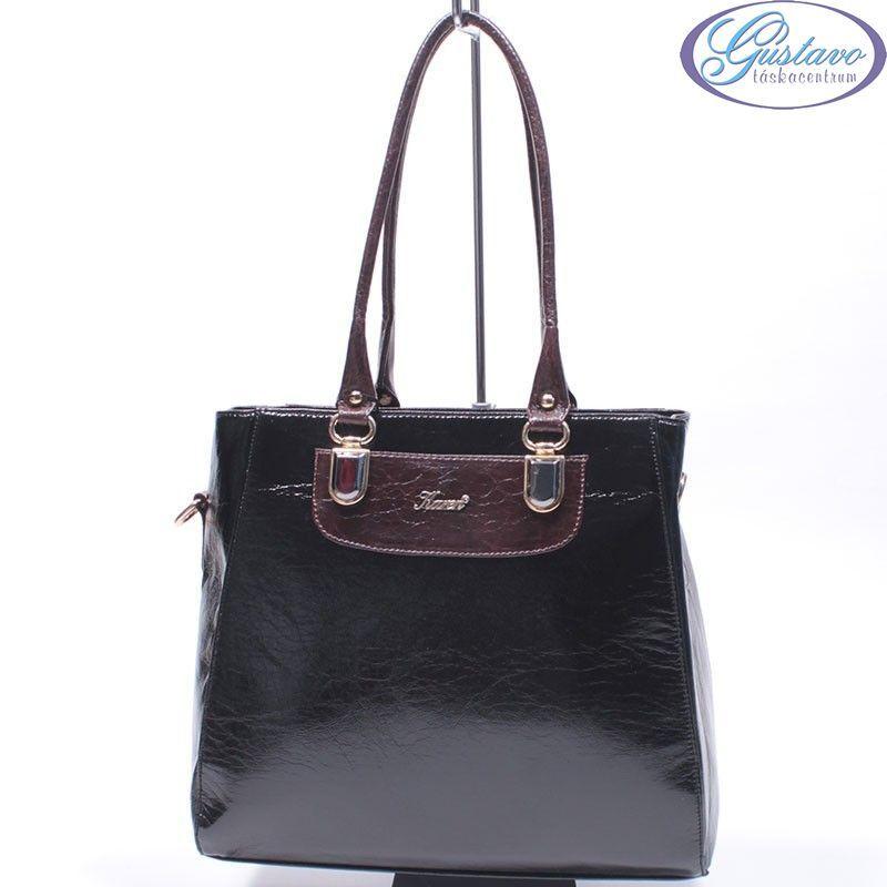 KAREN rostbőr női táska fekete - barna 930c7b16b7
