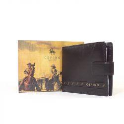 CEFIRO bőr férfi pénztárca sötétbarna színű
