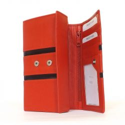 BY LUPO női bőr pénztárca piros-fekete színű