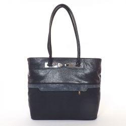KAREN rostbőr női táska fekete-ezüst színű