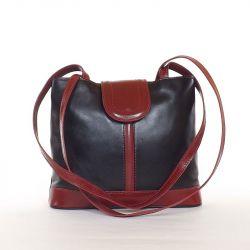 VERA PELLE női bőrtáska fekete-piros színű