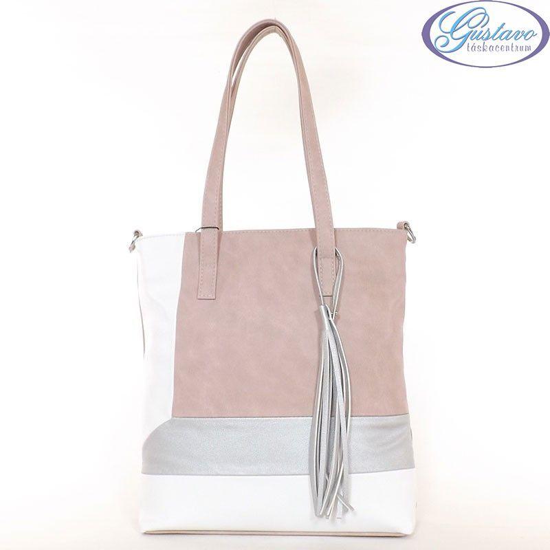 KAREN rostbőr női divattáska púder-fehér-ezüst színű 27c03851f9