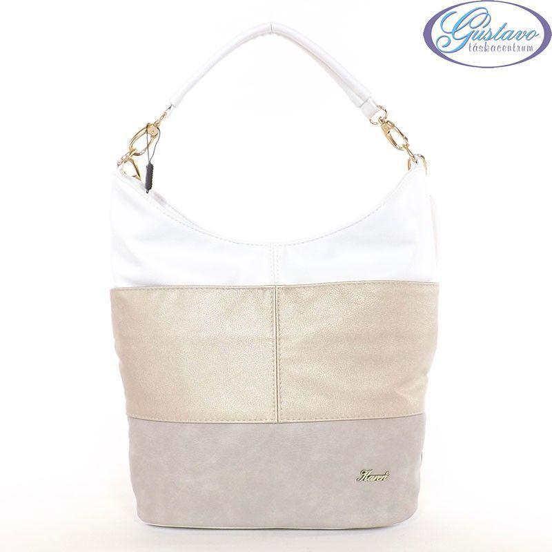 2d34185777 KAREN rostbőr női divattáska drapp-arany-fehér színű