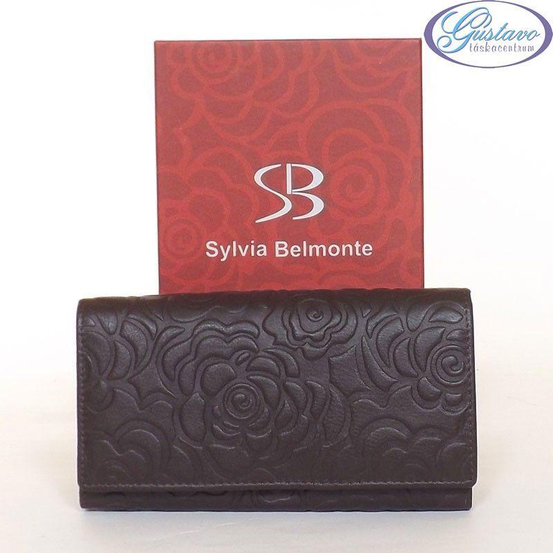 SYLVIA BELMONTE Női bőr pénztárca barna színű nyomott mintás