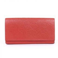 Női bőr pénztárca piros színű nyomott mintás