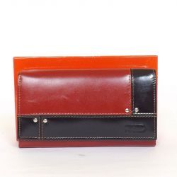 BY LUPO női bőr pénztárca piros-fekete