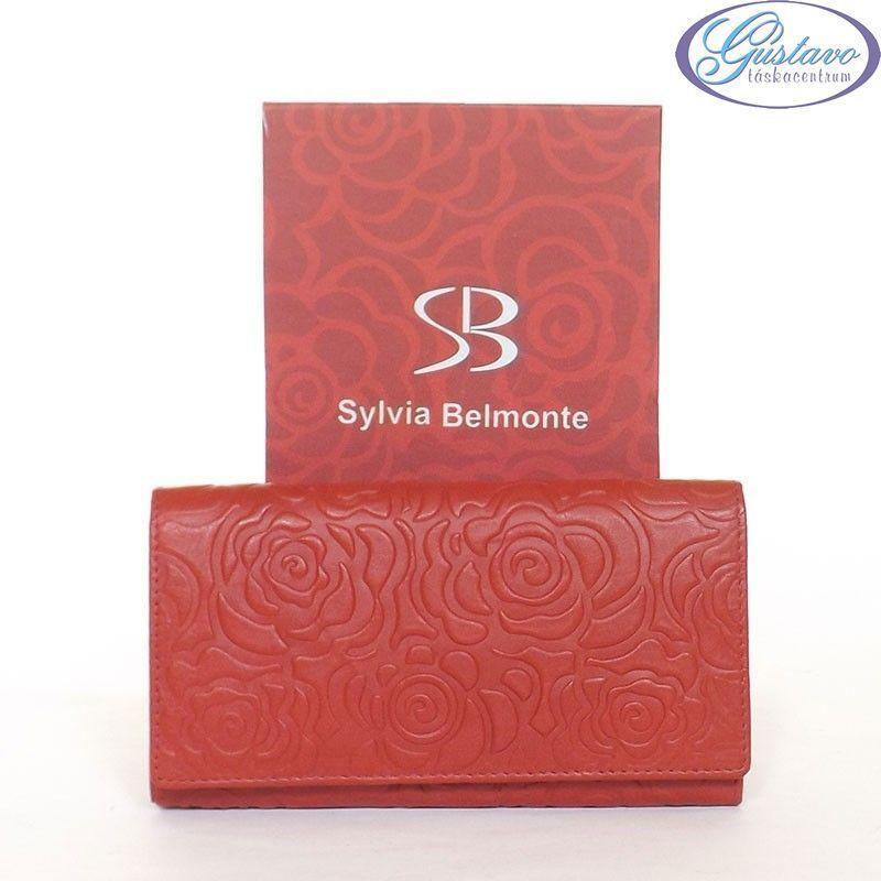 SYLVIA BELMONTE Női bőr pénztárca piros színű nyomott mintás