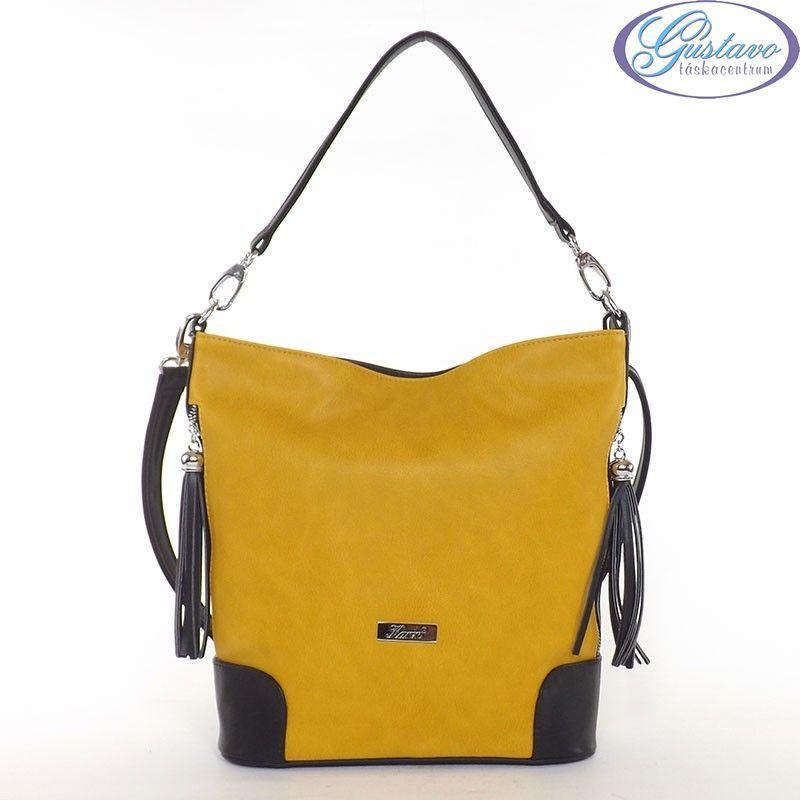 150996f3a8 KAREN rostbőr női divattáska sárga-fekete színű
