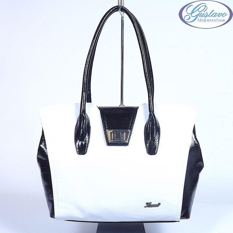 KAREN rostbőr női táska fekete-fehér színű 683c94ee45