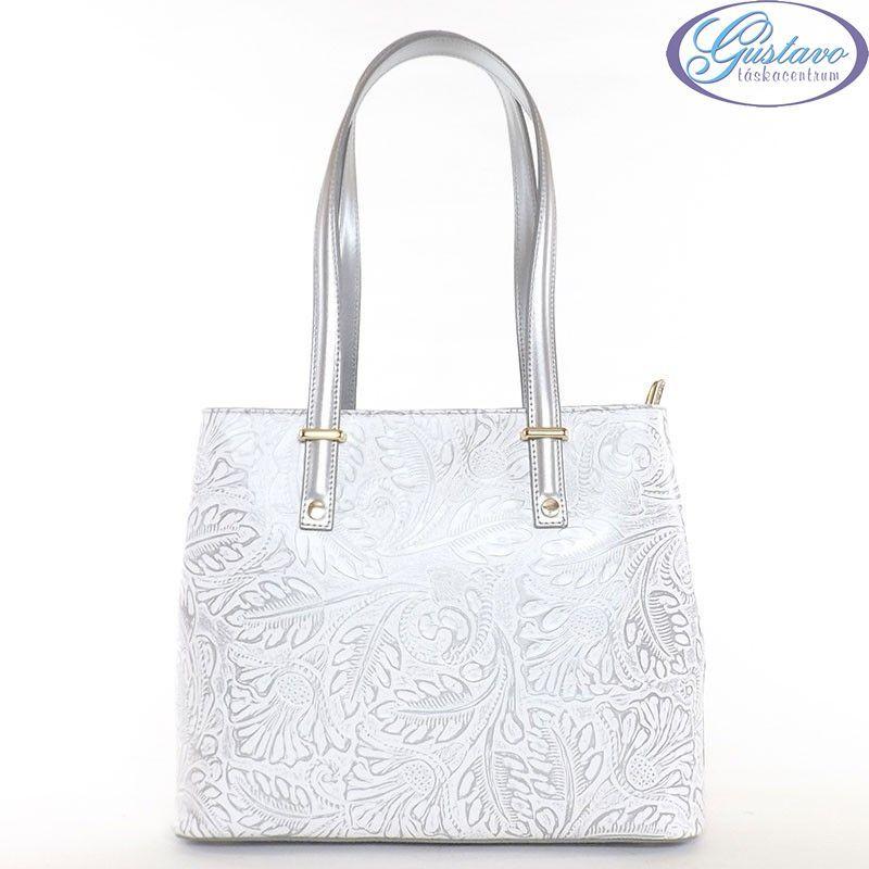 7f9b7740f7aa GEUNINE LEATHER női bőr táska nyomott mintás fehér-ezüst színű
