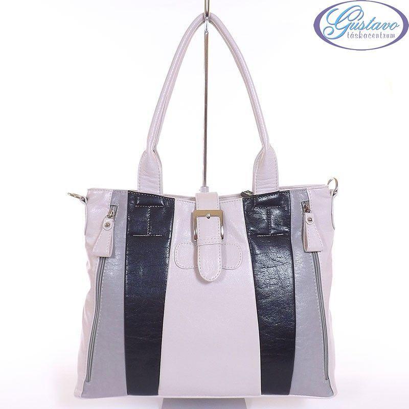 KAREN rostbőr női táska vajszínű- szürke - fekete színű 93c76cd661