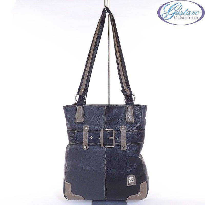 Laurence C műbőr női táska fekete-szürke-kávé színű d8fdfc3261