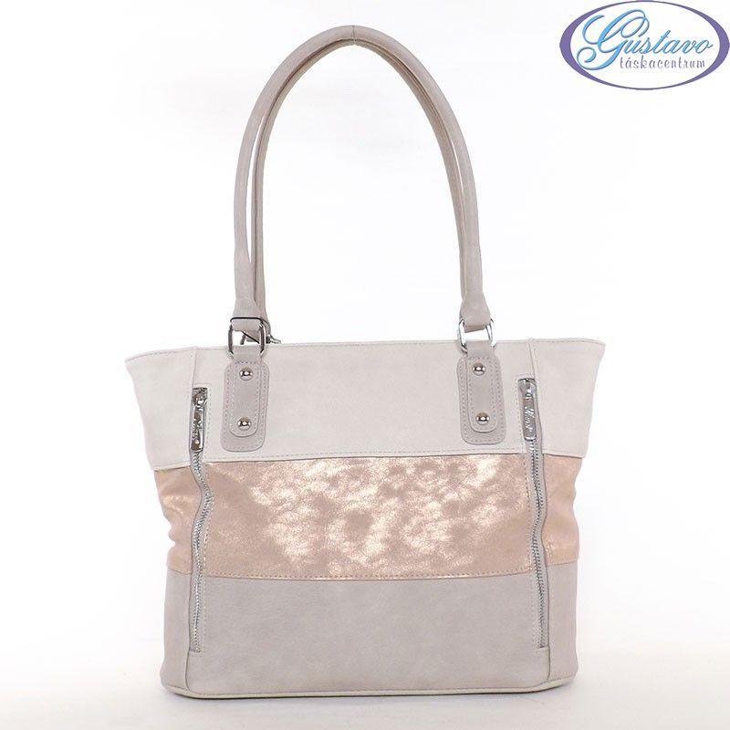 KAREN rostbőr női táska kapucsínó-rosegold-bézs színű dee25e2491