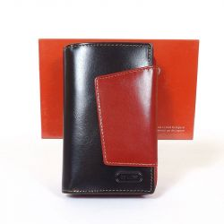 BY LUPO női bőr pénztárca fekete - piros színű