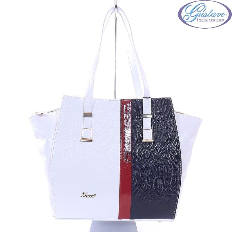 5dbdaa89a3 KAREN rostbőr női táska fehér-piros-kék színű
