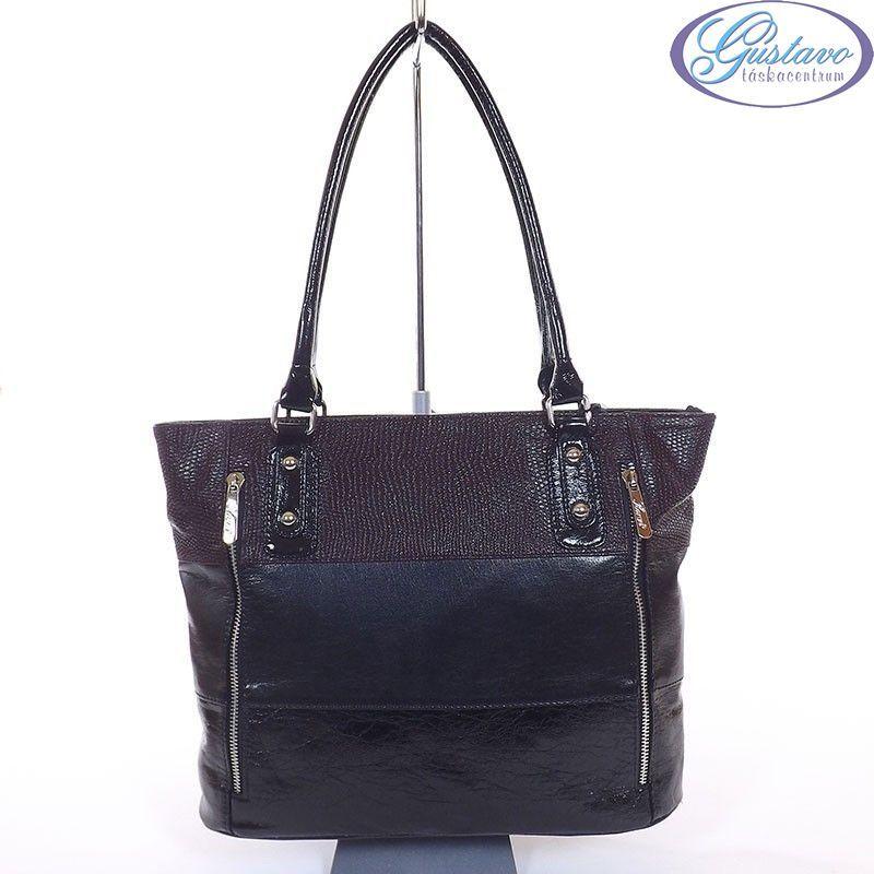KAREN rostbőr női táska fekete-bordó színű
