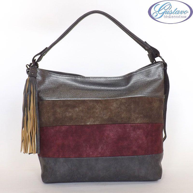 URBAN női divattáska szürke színű anyagból készült. Az eleje színes csíkos.  NAGY MÉRETŰ nagyon jól pakolható modell. Vállon kényelmesen viselhető. e30fd3b209