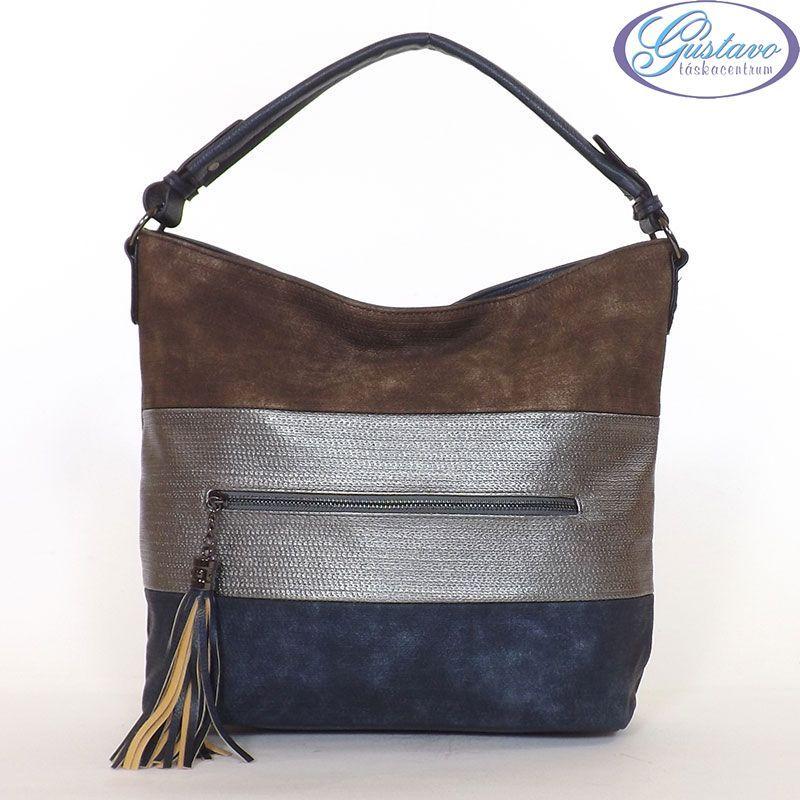 URBAN női divattáska kék színű anyagból készült. Az eleje színes csíkos.  Nagy méretű f0afa7f63e