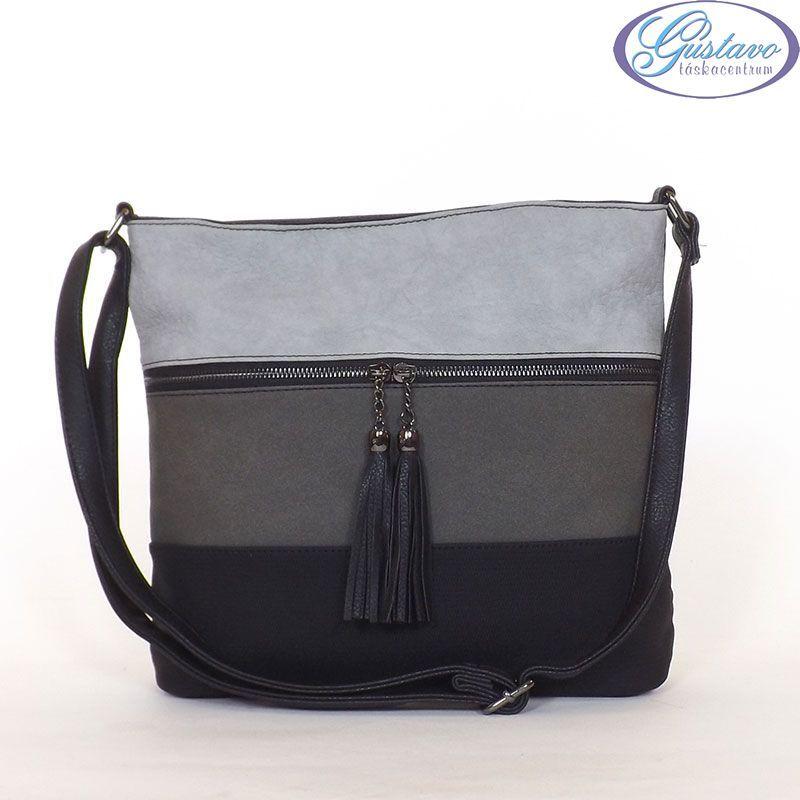 URBAN női divattáska fekete színű anyagból készült. Az eleje szürke színű  csíkos. Cipzár alatt zseb található. Közepes méretű c17c7e3307