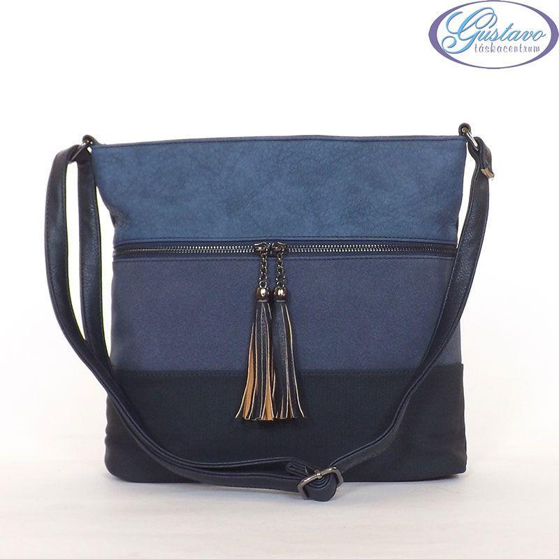 URBAN női divattáska kék színű anyagból készült. Az eleje kék színű csíkos.  Cipzár alatt zseb található. Közepes méretű 4e7f691865