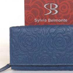 SYLVIA BELMONTE Női bőr pénztárca kék színű nyomott mintás