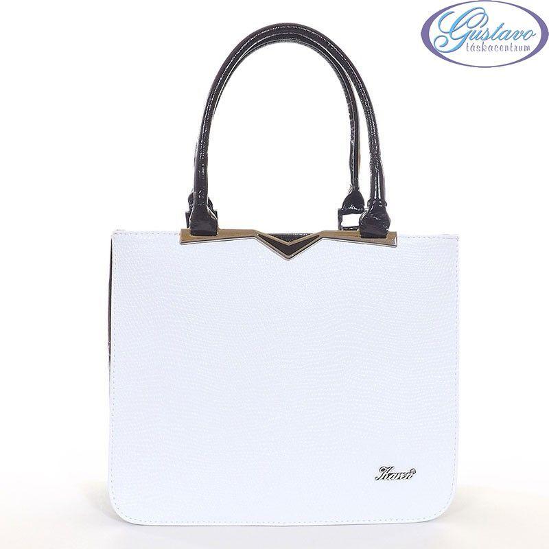 KAREN rostbőr női táska fehér - fekete színű 12f21067e2