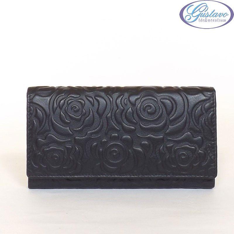 SYLVIA BELMONTE Női bőr pénztárca fekete színű nyomott mintás