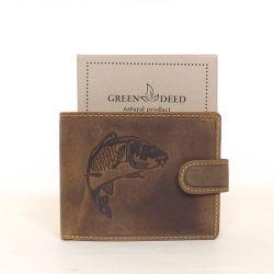 GREEN DEED bőr férfi pénztárca barna színű ponty mintás