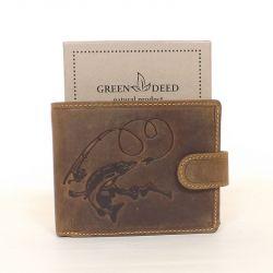 GREEN DEED bőr férfi pénztárca barna színű csuka mintás