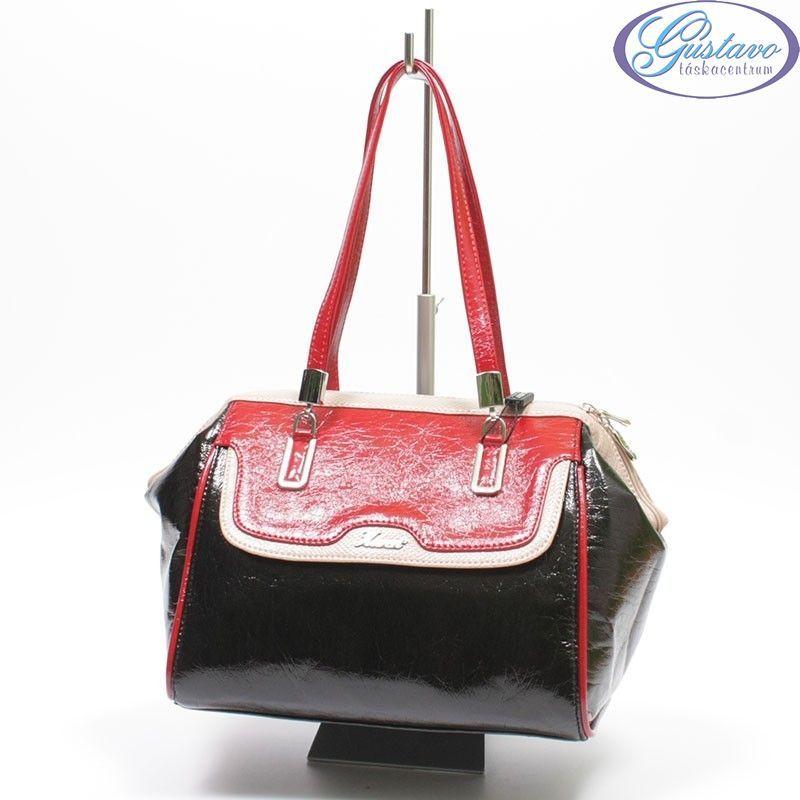 KAREN rostbőr női táska fekete-piros-bézs színű 3747d65ac5