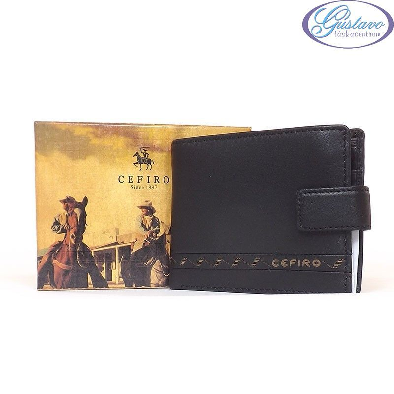 CEFIRO bőr férfi pénztárca fekete színű