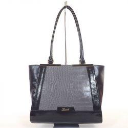 KAREN rostbőr női divattáska fekete - szürke színű 4c94e6ab2c