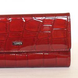LOREN női lakkbőr pénztárca piros színű