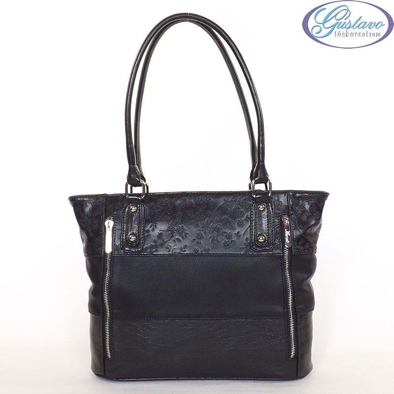 fekete táska virágmintás
