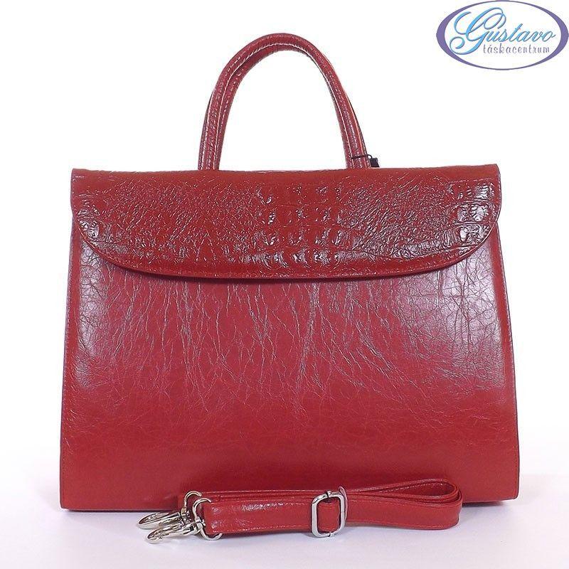 KAREN rostbőr női táska piros színű