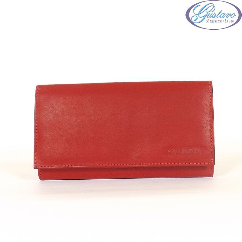 S. BELMONTE női bőr pénztárca piros színű