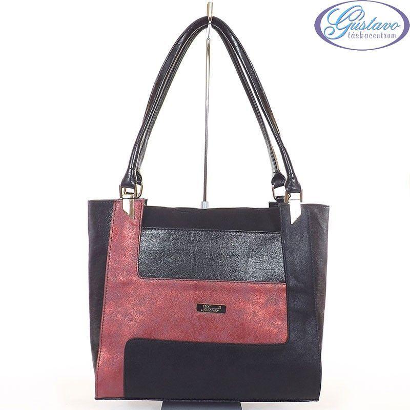 KAREN rostbőr női divattáska fekete - bordó színű 07be8e1c01